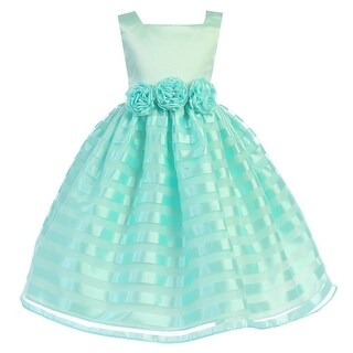 Little Girls Mint Satin Stripe Organza Flower Special Occasion Dress