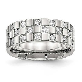 Stainless Steel Polished Checkered Board CZ Ring (8 mm)