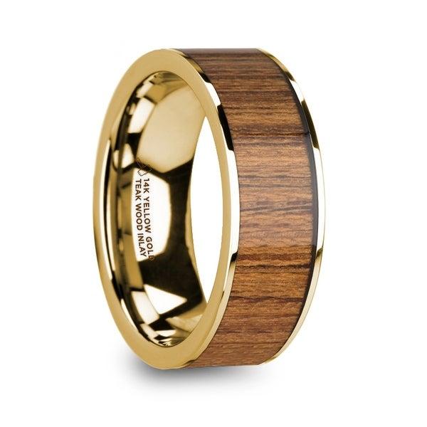 Teris Men X27 S Polished 14k Yellow Gold Wedding Ring With Teak Wood Inlay