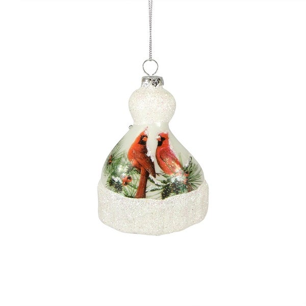 Nature's Story Teller Hat Shaped Christmas Ornament with Cardinals