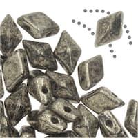 Czech Glass DiamonDuo, 2-Hole Diamond Shaped Beads 5x8mm, 12 Grams, Antique Chrome