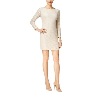 Jessica Howard Womens Petites Special Occasion Dress Metallic Shift