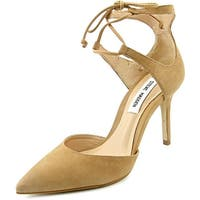 Steve Madden Womens SAMMBA Leather Pointed Toe Ankle Strap D-orsay Pumps