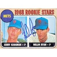 Signed Ryan Nolan New York Mets 1968 Reprint Baseball Card Light Smudging of the signature autograp