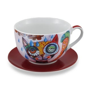 Allen Designs Colorful Cat and Fish Ceramic Coffee Cup / Saucer Set