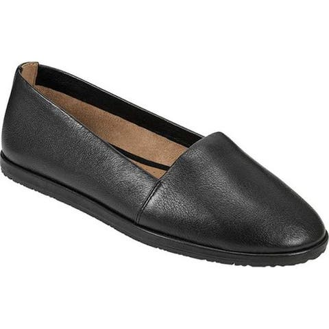 Aerosoles Women's Holland Flat Black Leather