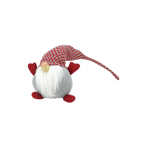 """9"""" Red and Gray Checkered """"Plumpy Patrick"""" Sitting Chubby Santa Gnome Table Top Christmas Figure"""