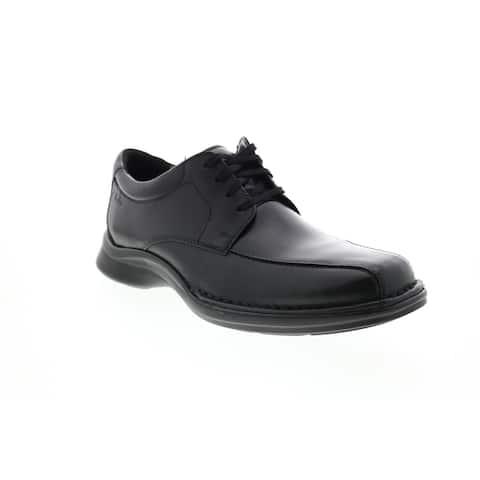 Clarks Kempton Run Black Leather Mens Plain Toe Oxfords & Lace Ups
