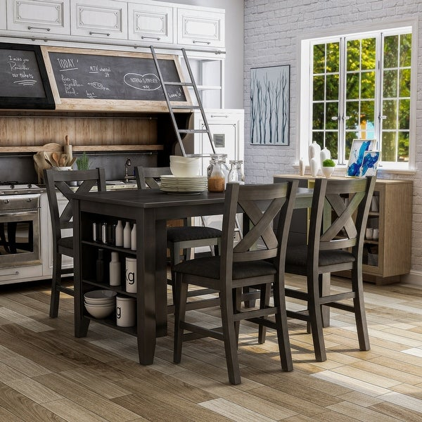 Furniture of America Blye Rustic Grey 5-piece Counter Dining Set. Opens flyout.