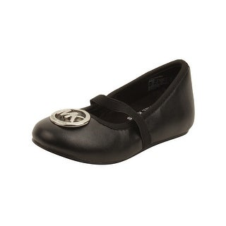 MICHAEL Michael Kors Toddler Faye Ria Strap Flats in Black (Option: 8)