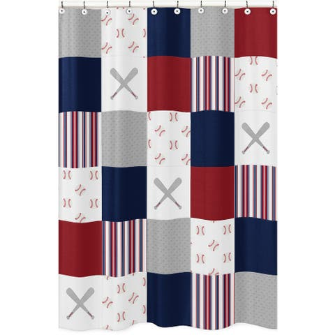 Sweet Jojo Designs Red, White and Blue Baseball Patch Sports Collection Bathroom Fabric Bath Shower Curtain