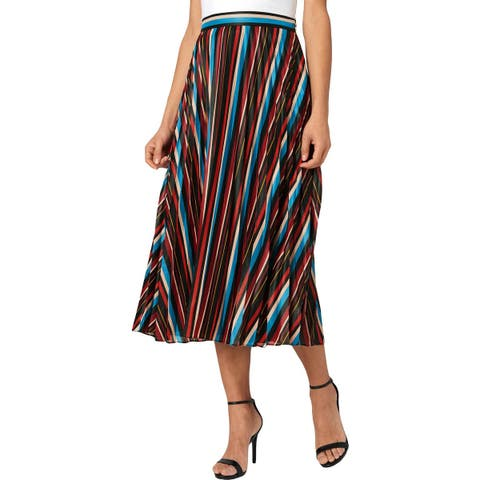 Juicy Couture Black Label Womens Midi Skirt Striped Pleated