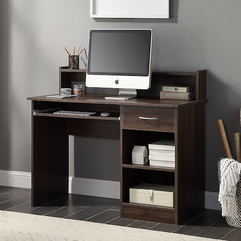"""BELLEZE 42"""" Office Computer Table Writing Desk Workstation With Hutch - standard"""