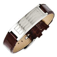 Chisel Stainless Steel Textured Brown Leather Adjustable Buckle Bracelet