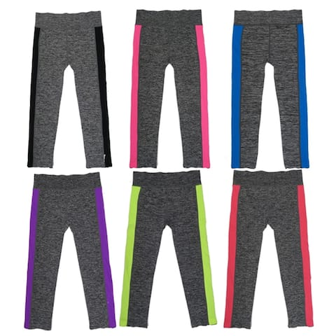 Women's Capris Sports Leggings w/Side Accent Colors (6 Pack) Free Size