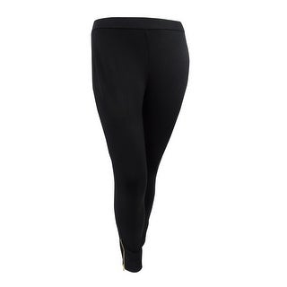 Lauren Ralph Lauren Women's Plus Size Zipper Legging (1X, Black) - Black - 1x