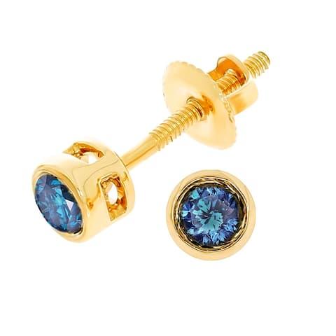 0c719a11f Prism Jewel Round Brilliant Cut Blue Color Diamond Bezel Set Stud Earring