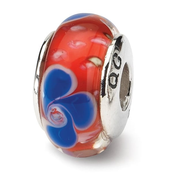 Sterling Silver Reflections Red/Blue Hand-blown Glass Bead (4mm Diameter Hole)