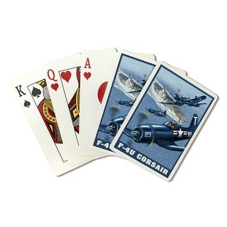 F-4U Corsair - Lantern Press Artwork (Playing Card Deck - 52 Card Poker Size with Jokers)