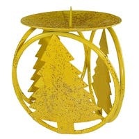 """Club Pack of 72 Yellow Christmas Tree Pillar Candle Holders 4.25"""""""