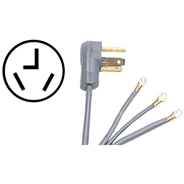 Certified Appliance 90-1022 3-Wire Dryer Cord, 30 Amps (5Ft, Closed Eyelet)