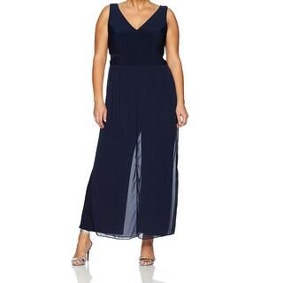 Xscape Blue Womens Size 14W Plus V-Neck Sheer Side Inset Jumpsuit