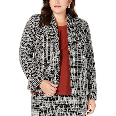 Kasper Womens Jacket Gray Size 24W Plus Tweed Knit Zipper Pocket