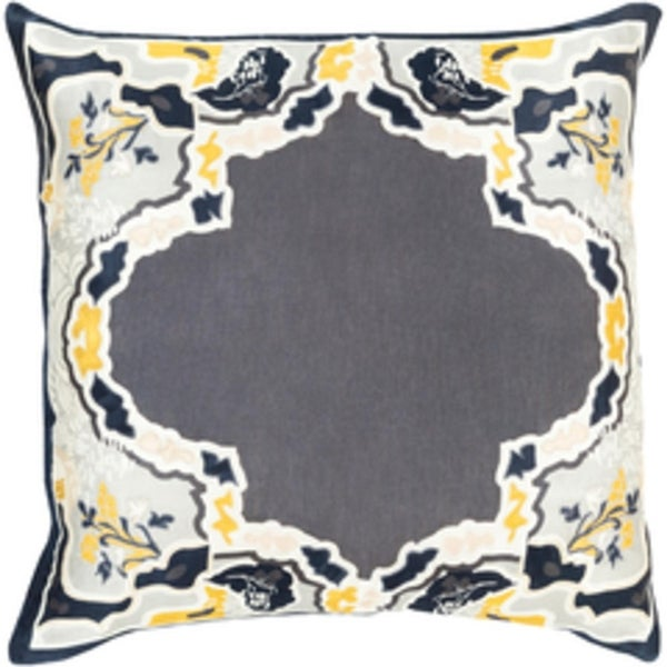 "22"" Metalic Gray and Golden Yellow Floral Decorative Throw Pillow - Down Filler"