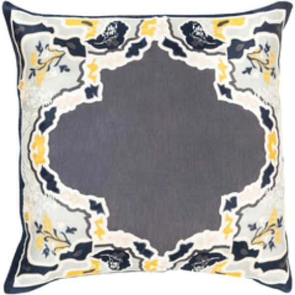 "22"" Metalic Gray and Golden Yellow Floral Decorative Throw Pillow"