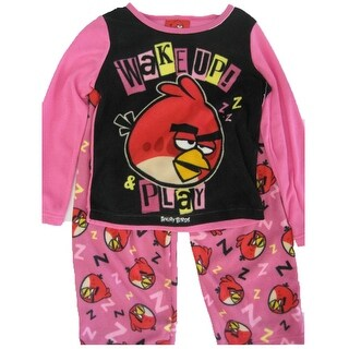 Angry Birds Girls Black Hot Pink Cartoon Print 2 Pc Pajama Set 8-10