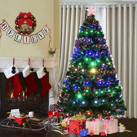 Costway 7' Pre-Lit Fiber Optic Artificial Christmas Tree w/Multicolor