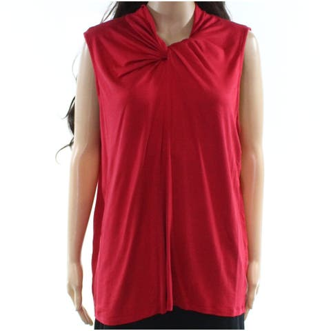 Leo & Nicole Women's Red Size 1X Plus Twist Neck Sleeveless Knit Top