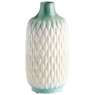 "Cyan Design 09089  Verdant Sea 5-1/2"" Diameter Ceramic Vase - Green / White Glaze"