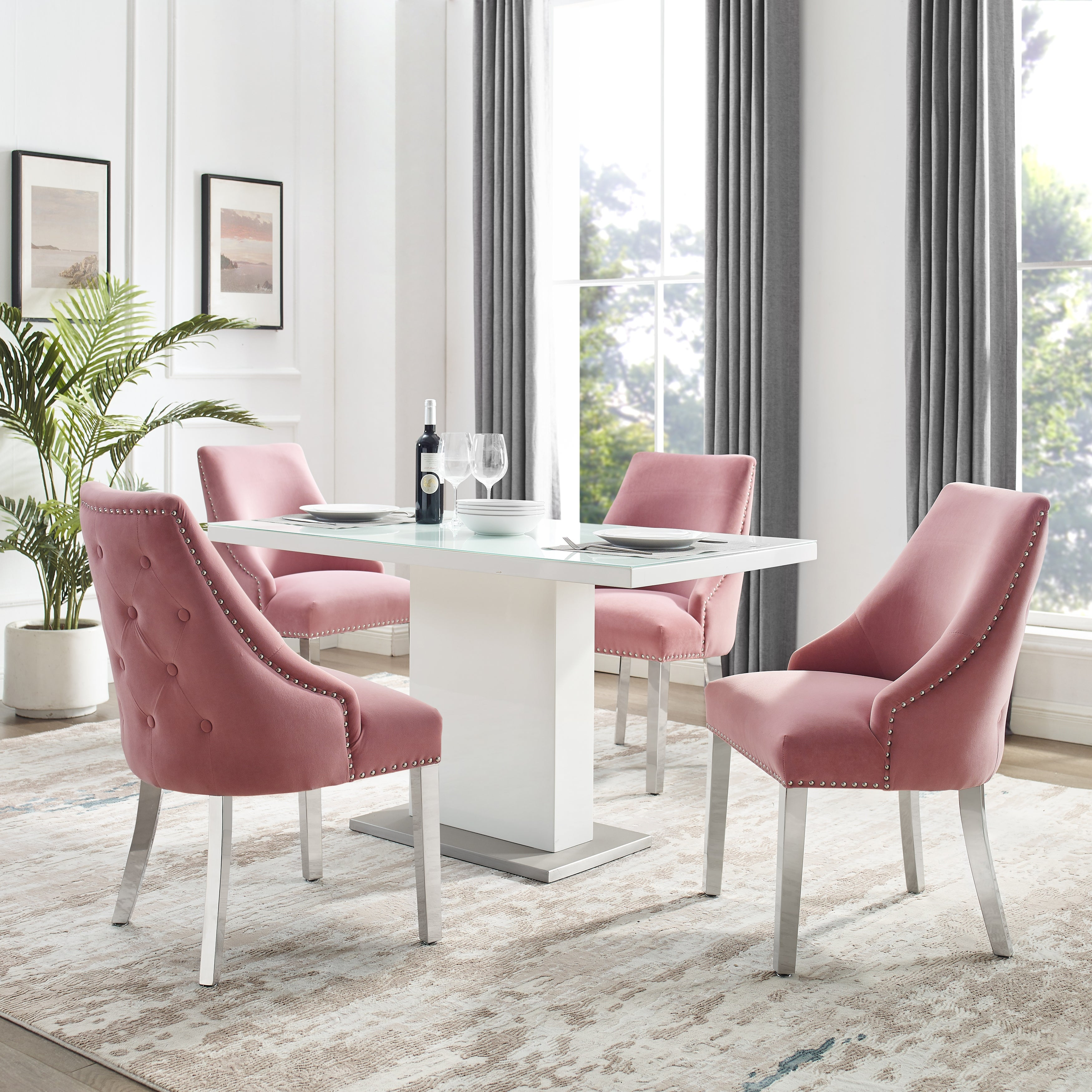 Braff Velvet Tufted High Back Dining Chairs By Corvus Set Of 2 On Sale Overstock 31509969