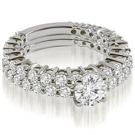 2.15 cttw. 14K White Gold Classic Round Cut Basket Diamond Bridal Set