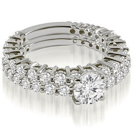 2.40 cttw. 14K White Gold Classic Round Cut Basket Diamond Bridal Set