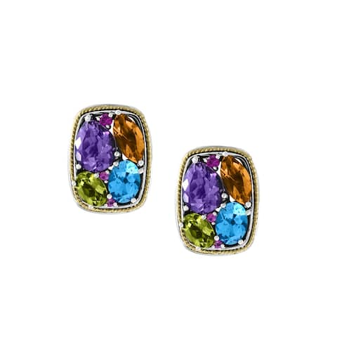 Effy Jewelry Multi-Gemstone Earrings in 925 Sterling Silver with 18K Yellow Gold Plating, 5.45 TWC