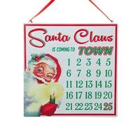 "12"" Santa Claus is Coming to Town Christmas Countdown Calendar with Holly Magnet - green"