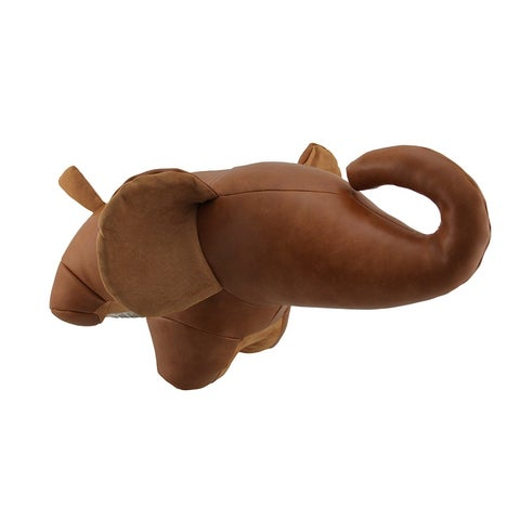 Brown Faux Leather Elephant Bean Bag Door Stop