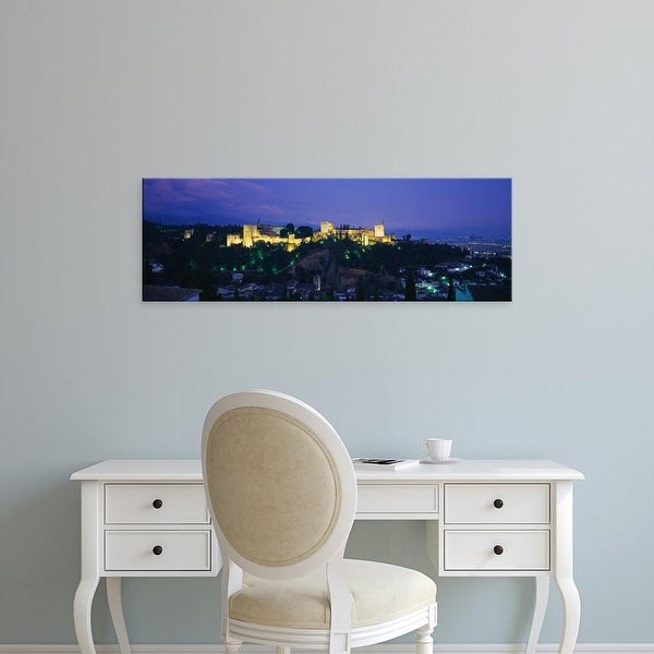 Easy Art Prints Panoramic Images's 'Palace lit up at dusk, Alhambra, Granada, Andalusia, Spain' Premium Canvas Art