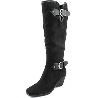 Aerosoles Wonderful Women W Square Toe Canvas Black Knee High Boot