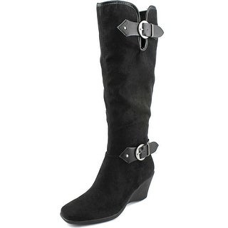 Aerosoles Wonderful Women Square Toe Canvas Black Knee High Boot