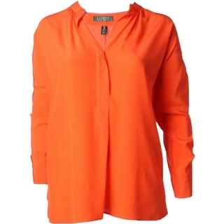Lauren Ralph Lauren Womens Plus Bridney Blouse Button Front Silk