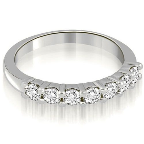 0.70 cttw. 14K White Gold Classic Round Cut Diamond Wedding Band