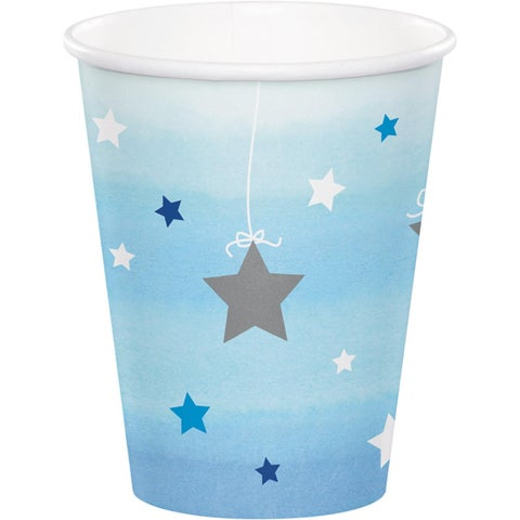 Club Pack of 96 Blue and White Decorative One Little Star Hot Cold Cups 5.6