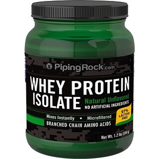 Piping Rock Whey Protein Isolate Powder Natural Unflavored 1.2 Lbs (544 g) - green