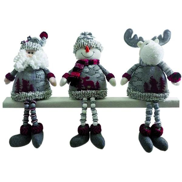 "Set of 3 Artic Santa Claus, Snowman and Reindeer Plush Christmas Shelf Sitters 15"""