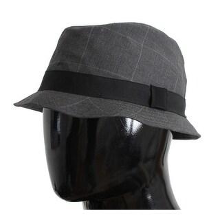 Dolce & Gabbana Gray Check Cotton Fedora Trilby Hat