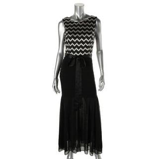 Betsy & Adam Womens Chiffon Cheveron Evening Dress - 10P