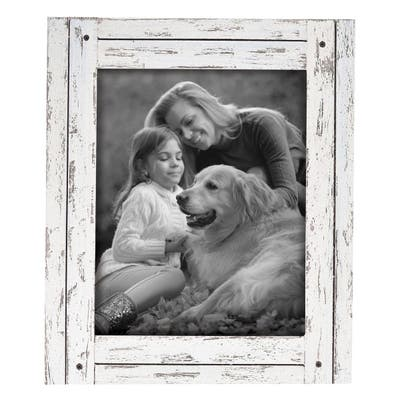 Foreside Home & Garden White 8 x 10 inch Decorative Distressed Wood Picture Frame